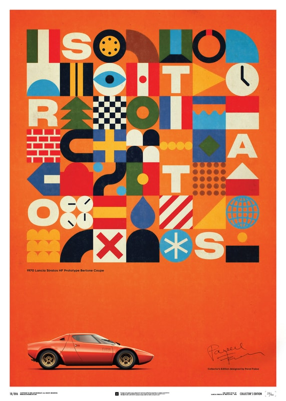 Lancia Stratos HF Prototype - Orange - 1971 - U&L Edition Poster