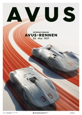 MERCEDES BENZ & AUTO UNION  - SILVER - AVUS - 1937 - POSTER - DESIGN POSTERS