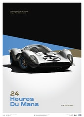 FERRARI 412P - WHITE - 24 HOURS OF LE MANS - 1967 - LIMITED POSTER - DESIGN POSTERS