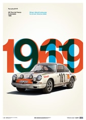 PORSCHE 911R - WHITE - TOUR DE FRANCE - 1969 - LIMITED POSTER - DESIGN POSTERS