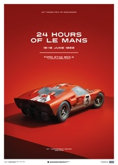FORD GT40 - DAN GURNEY - RED - 24H LE MANS - 1966 - LIMITED POSTER - DESIGN POSTERS