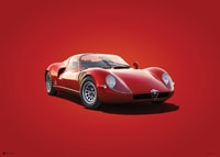 ALFA ROMEO 33 STRADALE - RED - 1967 - COLORS OF SPEED POSTER - COLORS OF SPEED POSTERS