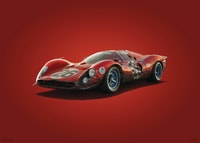 FERRARI 412P - RED - DAYTONA - 1967 - COLORS OF SPEED POSTER - COLORS OF SPEED POSTERS