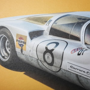 Porsche 906 - White - Japanese GP - 1967 - Colors of Speed Poster